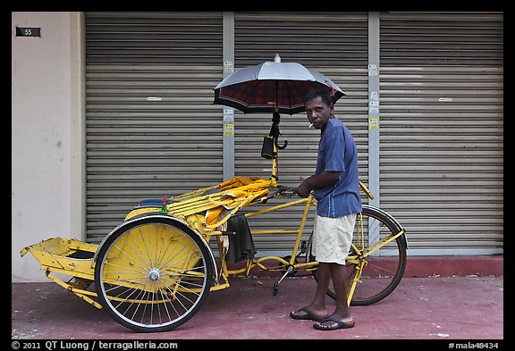 Driver and trishaw. George Town, Penang, Malaysia (color)