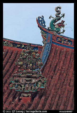 Roof detail, Kuan Yin Teng Chinese temple. George Town, Penang, Malaysia (color)