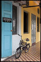 Bicycle in front of office. George Town, Penang, Malaysia ( color)