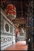 Gallery with paper lamps and stone carvings, Khoo Kongsi. George Town, Penang, Malaysia ( color)