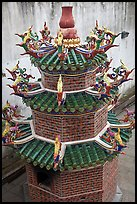Furnace tower, Hock Tik Cheng Sin Temple. George Town, Penang, Malaysia ( color)