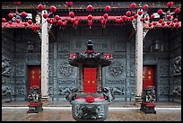 Slate and crimson facade, Hainan Temple. George Town, Penang, Malaysia ( color)