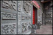 Carved stone walls, Hainan Temple. George Town, Penang, Malaysia ( color)