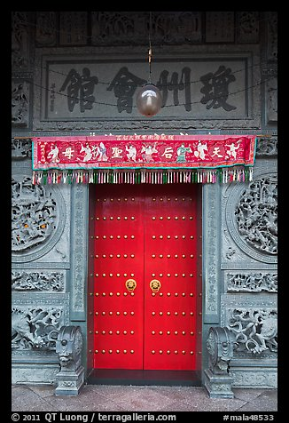 Crimson door and slate wall Hainan Temple. George Town Penang Malaysia & Picture/Photo: Crimson door and slate wall Hainan Temple. George ... pezcame.com