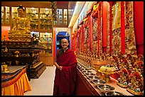 Abbot in Gelugpa Buddhist Association temple. George Town, Penang, Malaysia (color)