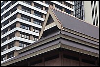 Roof of traditional tek house and modern buildings. Kuala Lumpur, Malaysia ( color)