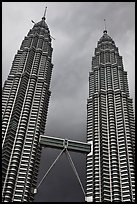 Petronas Towers (tallest twin towers in the world) and stormy sky. Kuala Lumpur, Malaysia ( color)
