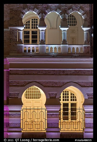 Arches, Sultan Abdul Samad Building under changing illumination. Kuala Lumpur, Malaysia (color)