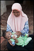Mother and infant, St Paul Hill. Malacca City, Malaysia ( color)