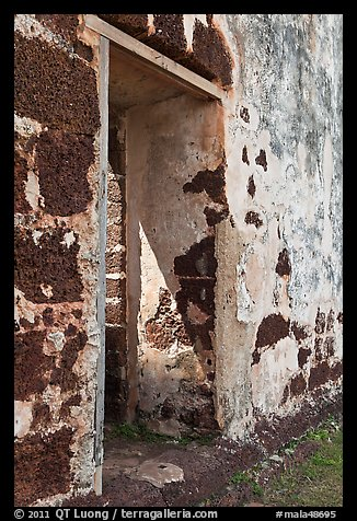 St Paul church walls and gate. Malacca City, Malaysia (color)