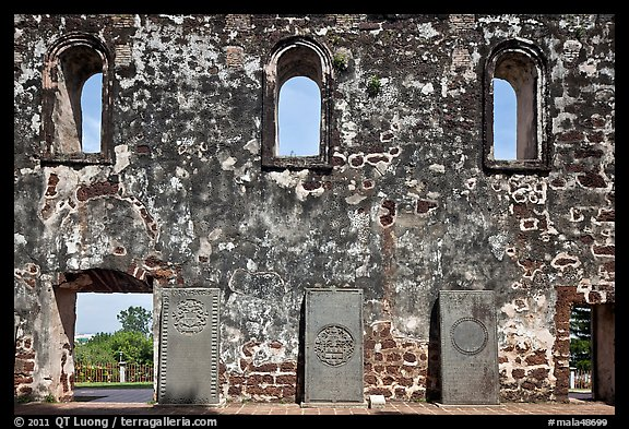 Church walls and tombstones, Bukit St Paul. Malacca City, Malaysia (color)