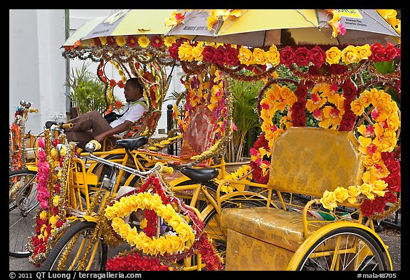 Trishaws decorated with plastic flowers. Malacca City, Malaysia (color)