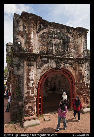 Porta de Santiago gate from A Famosa fort. Malacca City, Malaysia (color)