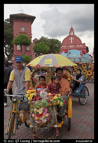 Bicycle Rickshaws ride, Town Square. Malacca City, Malaysia (color)