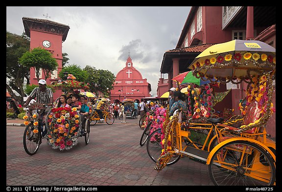 Trishaws, clock tower, and church. Malacca City, Malaysia (color)
