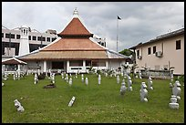 Cemetery, Mosque, and Moorish watchtower minaret. Malacca City, Malaysia ( color)