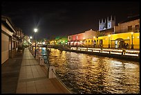 Melaka River at night with St Peters Church towers. Malacca City, Malaysia (color)