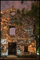 Ruined facade of St Paul Church at night. Malacca City, Malaysia (color)