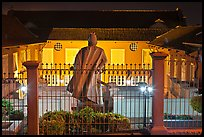Statue and Stadthuys at night. Malacca City, Malaysia (color)