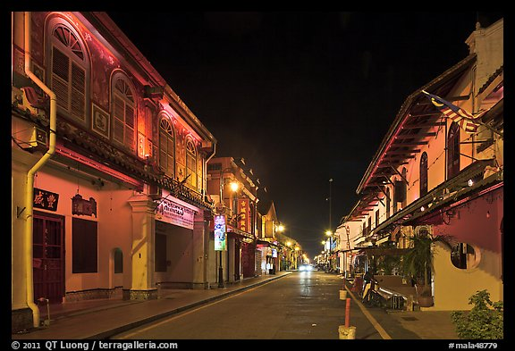 Chinatown street at night. Malacca City, Malaysia (color)