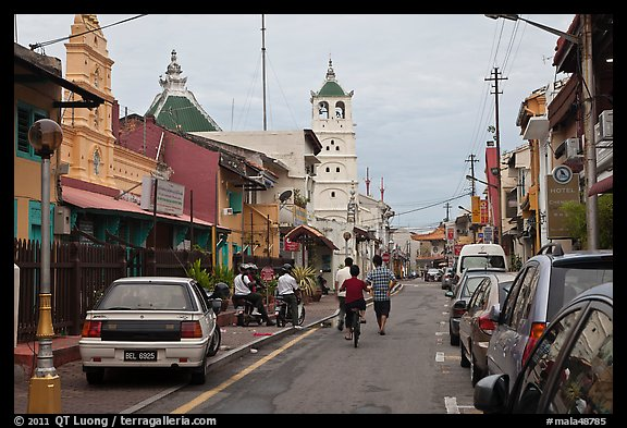 Harmony Street, featuring Hindu and Chinese Temples and a mosque. Malacca City, Malaysia (color)