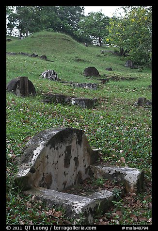 Chinese graves on hillside, Bukit China cemetery. Malacca City, Malaysia (color)