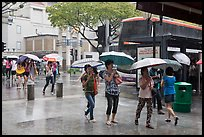 Women cross street of shopping area during shower. Singapore ( color)