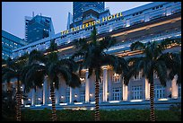 Fullerton Hotel facade at dusk. Singapore (color)