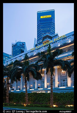 Fullerton Hotel and Maybank tower at dusk. Singapore (color)
