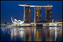 Marina Bay Sands and harbor at night. Singapore ( color)