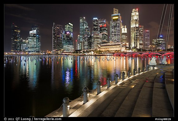Central Business District skyline and Marina Bay at night. Singapore (color)