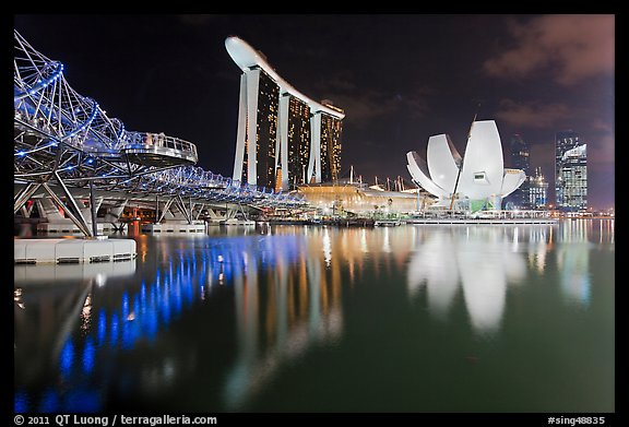 Helix Bridge, Marina Bay Sands, and ArtScience Museum at night. Singapore