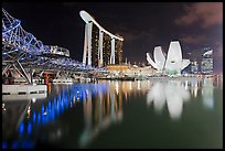 Helix Bridge, Marina Bay Sands, and ArtScience Museum at night. Singapore ( color)