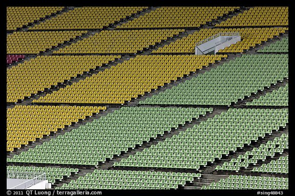 Seats of Bay Sands Marina stadium. Singapore (color)