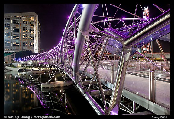 Double Helix Bridge in Marina Bay at night. Singapore (color)