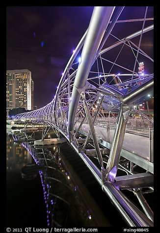 Double Helix Bridge at night. Singapore (color)