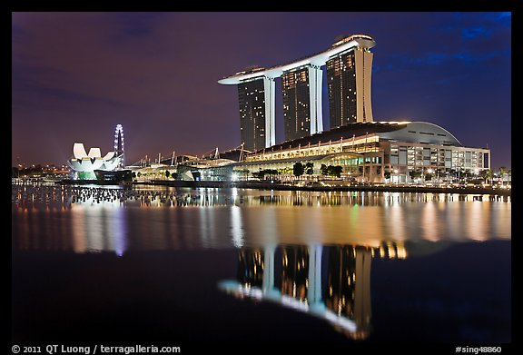 Marina Bay Sands resort and bay reflection at night. Singapore (color)
