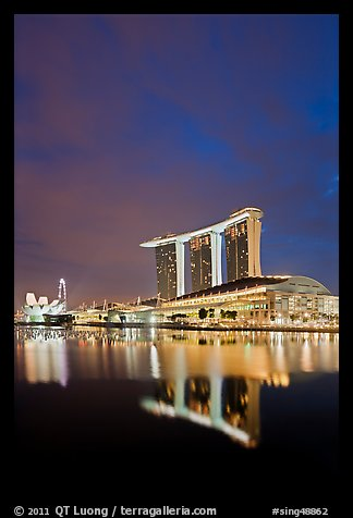 Marina Bay Sands resort at night. Singapore (color)