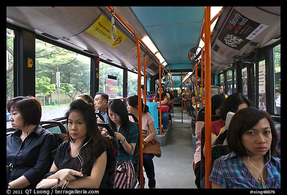 Riding a bus. Singapore (color)
