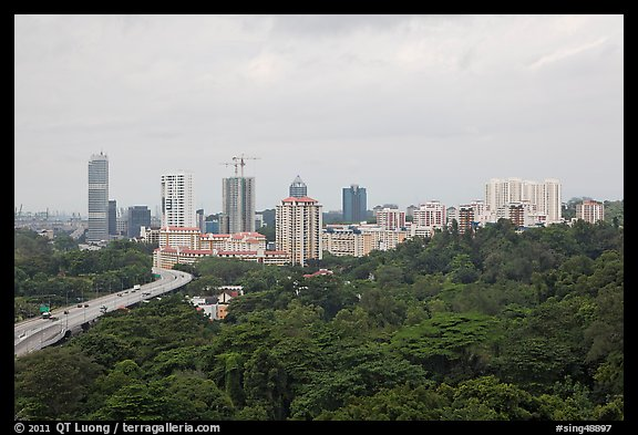 Forested park and high-rise towers. Singapore (color)