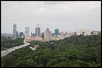 Forested park and high-rise towers. Singapore