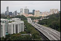 Freeway bordered by parklands and high rises. Singapore ( color)