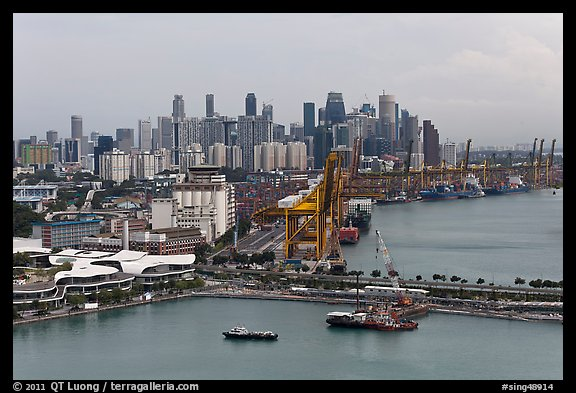 Harbor and Central Business District. Singapore (color)