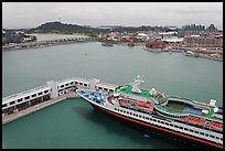 Cruise ship and Sentosa Island. Singapore (color)