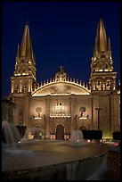 Cathedral by night. Guadalajara, Jalisco, Mexico (color)