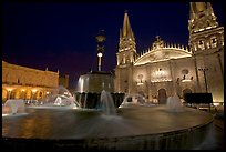 Plazza de los Laureles, fountain, and Cathedral by night. Guadalajara, Jalisco, Mexico