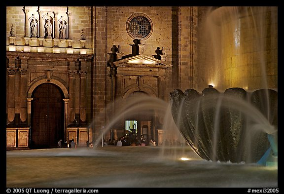 Fountain and cathedral wall by night. Guadalajara, Jalisco, Mexico (color)