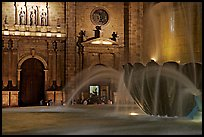 Fountain and cathedral wall by night. Guadalajara, Jalisco, Mexico