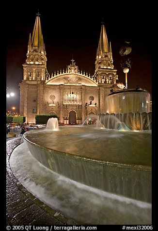 Fountain on Plazza de los Laureles and Cathedral by night. Guadalajara, Jalisco, Mexico (color)