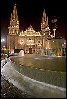 Fountain on Plazza de los Laureles and Cathedral by night. Guadalajara, Jalisco, Mexico ( color)